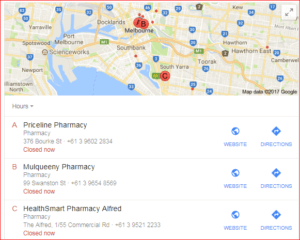 pharmacy search results