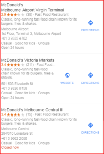 sample mcdonals search results