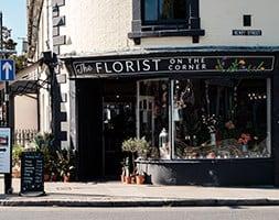 Florist shop on street corner