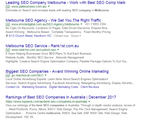 Best SEO company SERP lower result