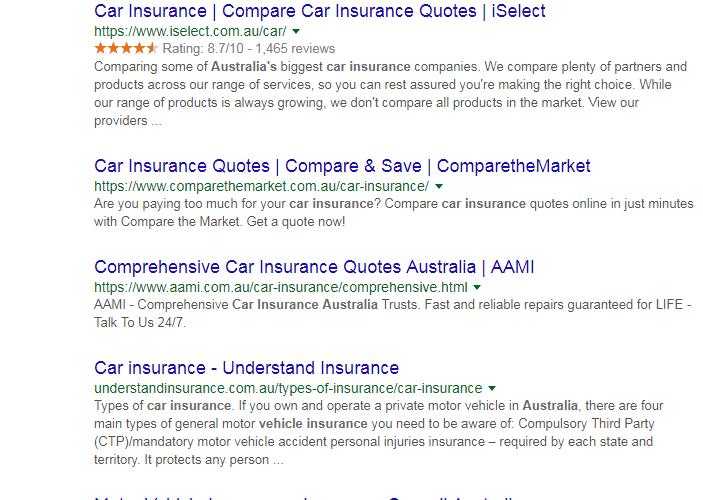 car insurance SERP