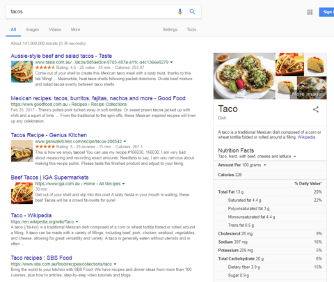 organic results with knowledge graph