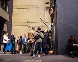 People waiting in line for coffee order in Melbourne CBD